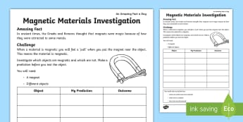Magnetic Materials Investigation Activity Sheet - amazing fact august, science, properties of materials, KS1, test, record findings, worksheet