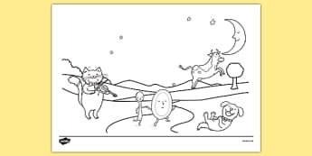 Hey Diddle Diddle Scene Colouring Sheet - hey diddle diddle, scene, colouring, colour