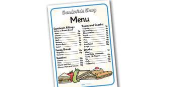 Sandwich Shop Role Play Menu - sandwich shop, role play, menu, sandwich shop menu, role play menu, menu for sandwich shop, menu for role play