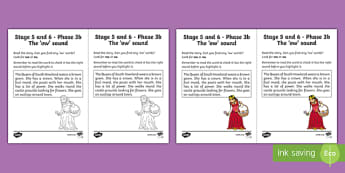 Northern Ireland Linguistic Phonics Stage 5 and 6 Phase 3b, 'ow' Sound Worksheet / Activity Sheet