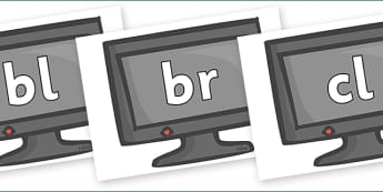 Initial Letter Blends on Computer Monitors - Initial Letters, initial letter, letter blend, letter blends, consonant, consonants, digraph, trigraph, literacy, alphabet, letters, foundation stage literacy