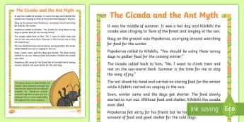The Cicada and the Ant Myth - New Zealand, myths, legends, cicada, ant, minibeasts, Maori