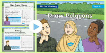 Year 4 Draw Polygons Maths Mastery PowerPoint - Reasoning, Greater Depth, Abstract, Problem Solving, Explanation