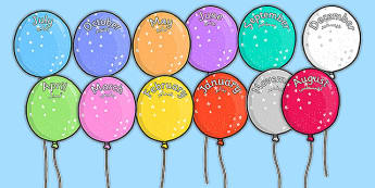 Editable Month Balloons Arabic Translation - arabic, editable, month, balloons, display