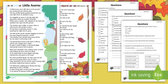 Little Acorns Differentiated Differentiated Reading Comprehension Activity - Little Acorns, Twinkl fiction, originals, reading comprehension, Ks1, inference, deduction