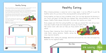 Healthy Eating Main Idea Activity Sheet - supporting Details, Nonfiction, informational text, summarizing, comprehension, retell, reading resp