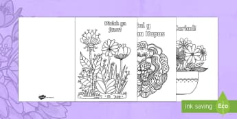 Taflenni Lliwio Ymwybyddiaeth Ofalgar Sul y Mamau - Sul y Mamau, Mother's Day, Sul y fam, sul y mamau, mother's day, wales, Wales, Ysgrifennu, writing