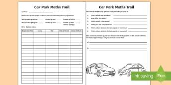 Car Park Maths Trail Worksheet / Activity Sheet - worksheet, interpreting,  cars, vehicles, data,Irish