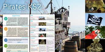 Imagine: Pirates KS2 Resource Pack - ship, map, jolly roger, parrot, treasure