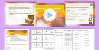 Expanding Triple Brackets Lesson Pack - binomial, expand, multiply, GCSE, manipulate, Algebra, dimensions, volume
