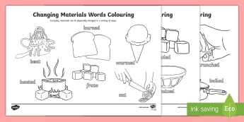 Physically Changing Materials Words Colouring Sheet - ACSSU018, changing shape, year 1, Properties of matter, twisting, bending, scrunching,Australia