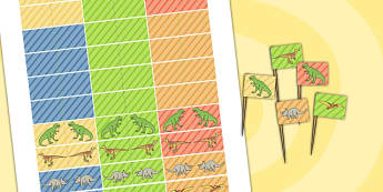 Dinosaur Themed Birthday Party Toothpick Flags - dinosaurs, party