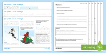 Winter Sports Differentiated Reading Comprehension Activity French - GCSE, snow, ski, olympics, games, jeux, olympiques, neige,French
