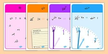 Units of Time Display Posters Urdu - urdu, units of time, display, poster, sign, units, unit, time units, time, minute, second, hour, day, week, month, year