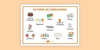 Mi fiesta de cumpleaños Word Mat - spanish, birthday, cumplea