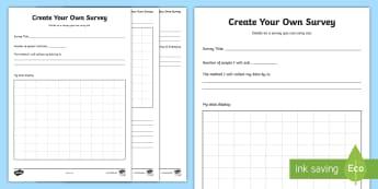 Create Your Own Survey Activity Sheet - data handling, Worksheet, Information Handling, maths, math, graph, grahp, data,