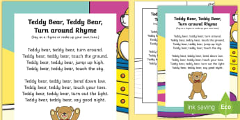 Teddy Bear, Teddy Bear, Turn around Rhyme - singing, song time, action song, teddies, teddy, bear