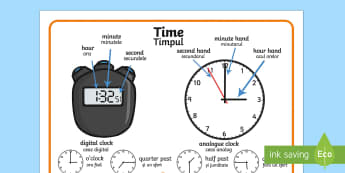 Time Vocabulary Word Mat English/Romanian - Time Vocabulary Word Mat - time vocabulary, word mat, writing aid, mat, vocabulary, time, day, secon