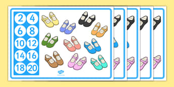 Counting in 2s Shoe Themed Display Posters - counting in 2, shoes, display posters, display, posters