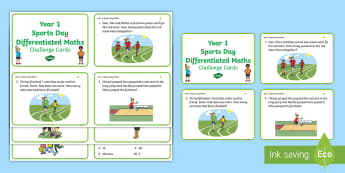 Year 1 Sports Day Maths Differentiated Challenge Cards - KS1, Numeracy, Activity, questions, problem solving, P.E., events, adding and subtracting