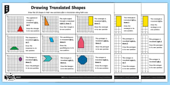 Drawing Translated 2D Shapes Differentiated Activity Sheets - Position and Direction, translation, shape