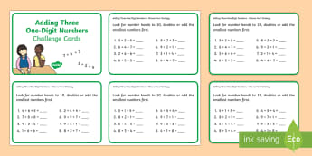 Add Three One-Digit Numbers (Choose Your Strategy) Maths Challenge Cards - addition, one-digit, mental strategies, number bonds to 10, friends of 10, doubles, Australia