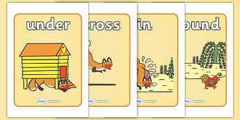 Preposition Display Posters to Support Teaching on Rosie's Walk - Rosies walk preposition, preposition, display, poster, sign, walk, under, above, in, around, over, past, beneath, prepositions, prepostions
