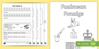 Fuaimean Fonaigs ù Duilleag-Obrach - Cfe, Early Level, First Level, Letters, Sounds, Phonics, Gaelic Sounds, Gaelic Alphabet,Scottish, wo
