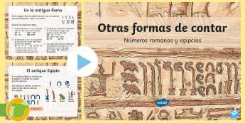 Presentación: Otras formas de contar - Números romanos y egipcios  - Matemáticas, numeración, Egipto, Roma, latín, egipcio, números, contar, jeroglíficos, romanos,