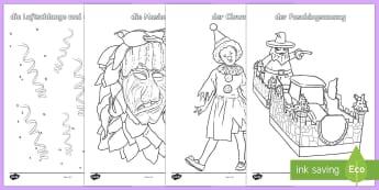 Fasching Anmalbilder - Fasching, Karneval, Fastnacht, Anmalbilder,German