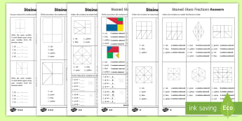 Year 6 Stained Glass Fractions Differentiated Activity Sheets - Half, Third, Quarter, Fifth, Sixth, Eighth, Tenth, Twelfth