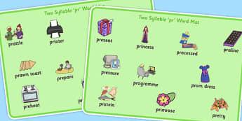 Two Syllable PR Word Mats - sen, sound, pr sound, pr, sen, two syllable, word mats