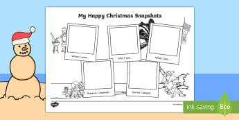 My Happy Christmas Snapshots Writing Frames - recount, memories, december, holidays, summer, Christmas Recount Writing Frame, christmas recounts