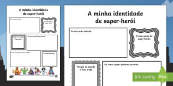 Transição, folha de escrita de super herói portuguese translation - Português (Brasil) - Superhero Transition Writing Frame - superheroes, writing aid, Nursery Transition, reception transit
