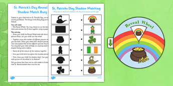 St Patrick's Reveal Wheel Shadow Match Busy Bag Resource Pack for Parents - St Partick