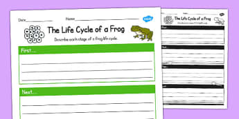 The Life Cycle of a Frog Writing Frame - writing, frame, cycle