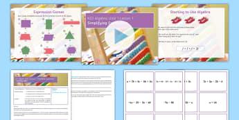 KS3 Algebra Unit 1 Lesson 1: Simplifying Expressions - Algebra, simplify, expressions, terms, like