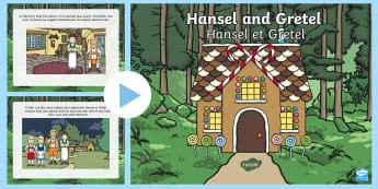 PowerPoint : l'histoire d'Hansel et Gretel - Contes de fées, cycle 1, Hansel, pain d'épice, maison,French