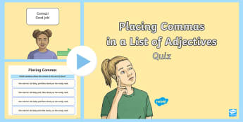 Placing Commas in a List of Adjectives PowerPoint - powerpoint, comma, adjectives, punctuation, placement
