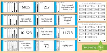 KS2 Place Value Peg Board Loop Cards - 5 digit number, four digit number, 3 digit number, 2 digit number, reason, compare, match