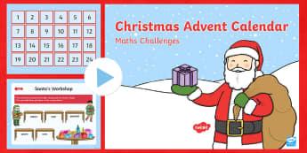 EYFS Christmas Maths Challenges Advent Calendar PowerPoint