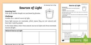 Sources of Light Worksheet - Amazing Fact Of The Day, activity sheets, powerpoint, starter, morning activity, March, candles, lig