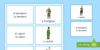 Jobs and Career Choices Matching Cards English/Spanish - Spanish, Vocabulary, jobs, career, choices, ambitions, matching, cards