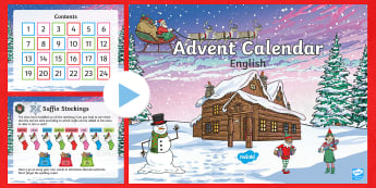 Second Level Advent Calendar English Challenges PowerPoint - SPAG, reading comprehension, Short Write, 60 second read, SODA