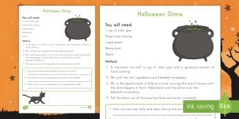 Halloween Slime Science Activity - Holidays, October, Fall, Halloween Activities, investigate, sensory,