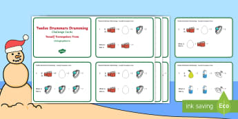 Twelve Drummers Drumming Challenge Cards English/Afrikaans - December, celebrate, math, numeracy, problem solving, Desember, wiskunde, EAL