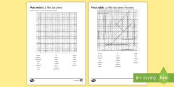 Father's Day Differentiated Word Search French - KS3 French Father's Day fête pères, wordsearch, differentiated, vocabulary, fun, spelling, writin