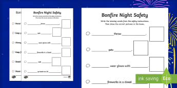 Bonfire Night Safety Poster Write and Draw Activity Sheet