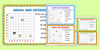 Animal Grid References Maths Challenge Cards - animals, coordinates
