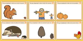 Autumn Playdough Mats - Autumn, playdough, mat, Harvest, Autumn, seasons, harvest festival, fruit, apple, pear, orange, wheat, bread, grain, leaves, conker